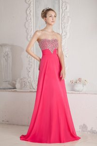 Coral Red Empire Sweetheart Floor-length Chiffon Prom Dress with Beading
