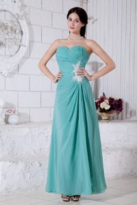 Turquoise Ankle Length Prom Evening Dress with Appliques and Ruches