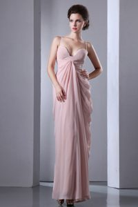 Ruched Pink Ankle Length Prom Evening Dress with Spaghetti Straps