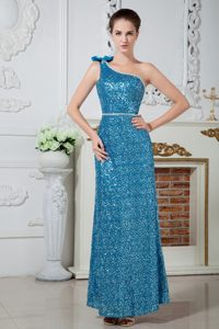 Beaded Teal One Shoulder Prom Evening Dress with Sequins Over Skirt