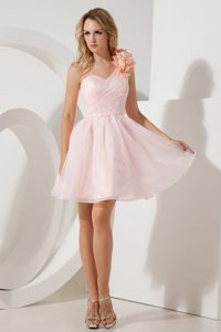 Flowery One Shoulder Light Pink Prom Evening Dress with Ruches