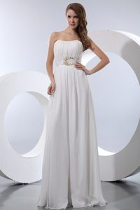 Hot Springs AR Beaded and Ruched White Chiffon Prom Evening Dress