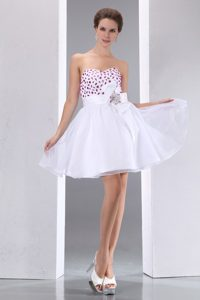 Beading and Flower Accent White Sweetheart Mini Prom Evening Dress