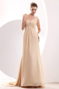 Champagne Empire Chiffon V-neck Prom Evening Dress with Brush Train