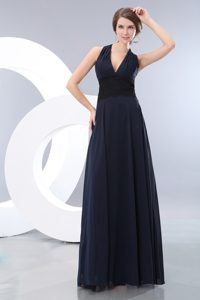 Tucson AZ Navy Blue Floor Length Chiffon Prom Gown Dress of Halter