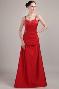 A-Line/Princess Sweetheart Floor-Length Beading Taffeta Prom Dress With Straps
