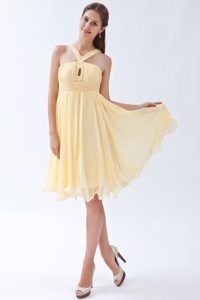 Beaded and Ruched Light Yellow V-neck Chiffon Prom Gown Dresses