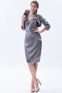 Gray Column Sweetheart Knee Length Prom Gown Dress with Beading