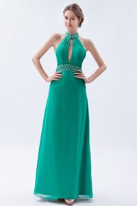Sexy Sheath/Column High Neck Sleeveless Floor-Length Prom Gowns with Beading