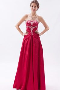 A-Line/Princess Strapless Floor-Length Taffeta Prom Dress With Appliques