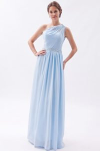 Elegant Empire One Shoulder Floor-length Chiffon Prom Dress with Sequins