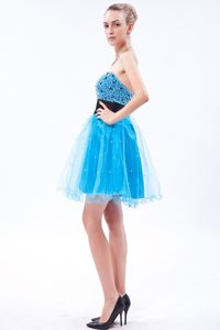 Sky Blue Mini Prom Gown Dress with Beading and Sash in Prescott AZ