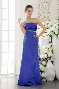 Blue One Shoulder Floor Length Prom Gown Dress with Beading and Ruches
