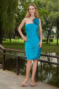Ruched and Floral Column One Shoulder Prom Gown Dress in Teal 2013