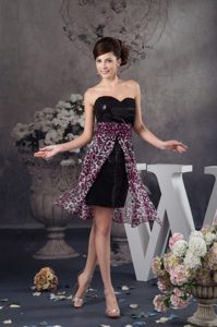 Sequins and Leopard Print Chiffon Prom Dress with Detachable Over Skirt