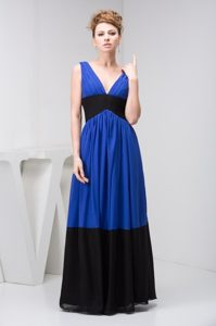 Black and Blue Empire Long Prom Gown Dress with V-neck and Ruches