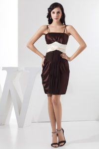 Brown Column Mini Prom Gown Dress with Spaghetti Straps and Ruches