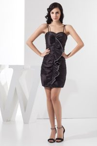 Ruffles Accent Black Column Prom Gown Dress with Spaghetti Straps