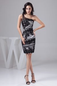 Black Column One Shoulder Mini-length Prom Gown Dress with Lace