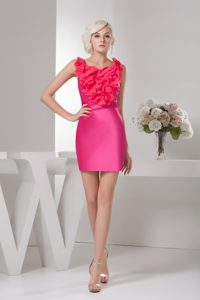 Ruffles Accent Hot Pink Column Mini-length Prom Gown Dress Scoop