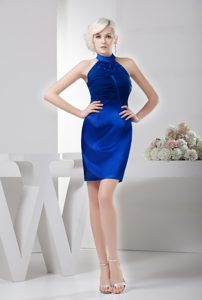 High Neck Beaded and Ruched Mini Prom Gown Dress in Royal Blue