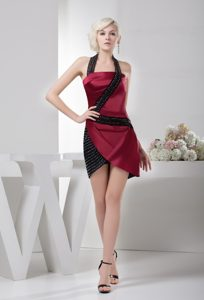 Beading Accent Black and Wine Red Halter Prom Gown Dress Mini-length