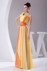 Fascinating Sheath/Column One Shoulder Two-tone Chiffon Prom Dress