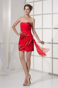 Red and Black Prom Homecoming Dress with Beading and Ruching
