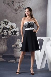 Black and White Prom Cocktail Dress with Lace Decoration to Floor
