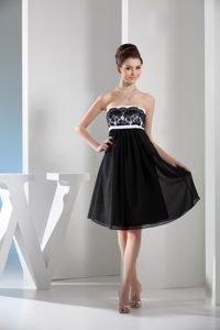 White and Black Empire Chiffon Prom Gown Dress with Lace Accent
