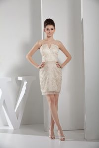 Champagne V-neck Lace Mini-length Prom Gown Dress in Sedona AK