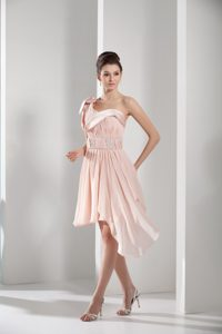 Beaded and Ruched Peach Asymmetrical Chiffon Prom Gown Dress 2013