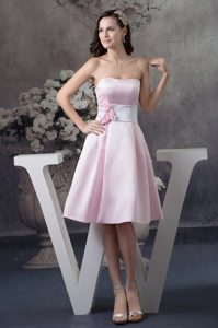 Flowers Accent Baby Pink Prom Gown Dress of Knee Length for Cheap