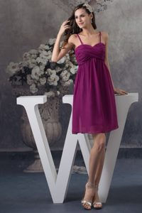 Ruched Purple Chiffon Prom Gown Dress with Spaghetti Straps 2013