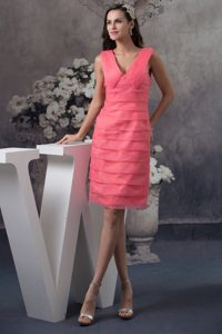 Gilbert AZ Simple Watermelon V-neck Prom Gown Dress of Mini-length