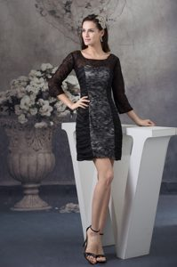Flagstaff AZ Black Lace Scoop Mini Prom Gown Dress with Long Sleeves
