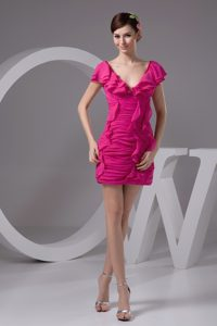 Hot Pink V-neck Mini-length Prom Gowns with Ruches and Ruffles