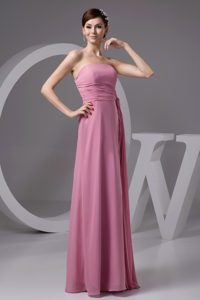 Fairbanks AK Rose Pink Chiffon Long Prom Gowns with Ruched Sash