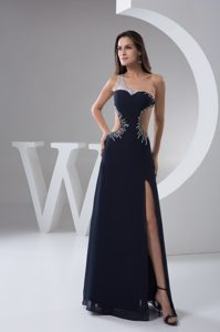 Navy Blue Chiffon One Shoulder Prom Gowns with Beading and High Slit