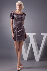 Beading Accent Brown Scoop Mini Prom Gowns with Short Sleeves 2013