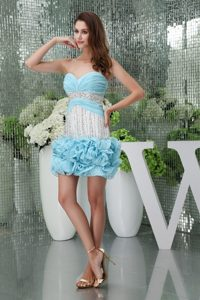Beading and Ruffles Accent Mini-length Prom Gown in Light Blue