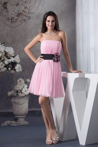 Floral and Pleated Rose Pink Mini-length Strapless Prom Dresses