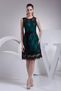 Dark Green and Black Lace Prom Dresses with Knee Length and Scoop