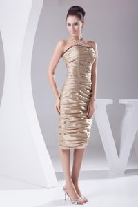 Champagne Taffeta Column Prom Dresses with Tea Length and Ruches
