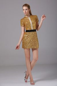 Sash Short Sleeves Gold Sequins Over Skirt Prom Dresses in Vogue