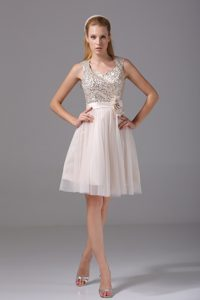 Champagne Tulle Mini Prom Dresses with Sequins and Flowers 2013