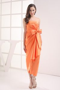 Bowknot Accent Orange Strapless Prom Dresses of Ankle Length 2013