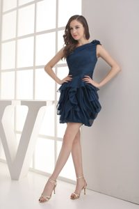 Navy Blue Mini-length One Shoulder Chiffon Prom Dresses with Ruffles