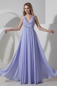 Lilac Empire Chiffon Long Prom Dress with V-neck and Beading