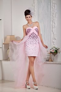 Beading Accent Pink High-low Column Prom Dress in Belmont CA